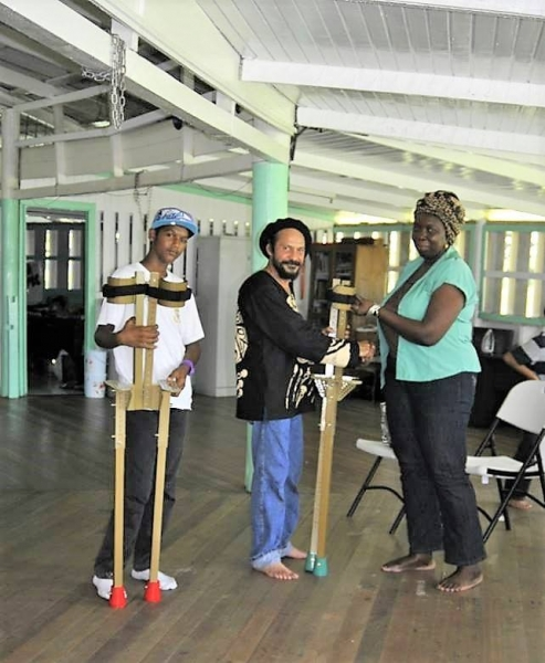 Donating MK7 stilts to New Amsterdam Multilateral School, 2012