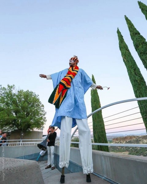 "From ""Death of Ojembo"" at the 2014 Global Stilt Congress, Arcosanti, Arizona 2"